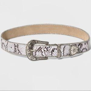 Wide Snakeskin Western Style Belt